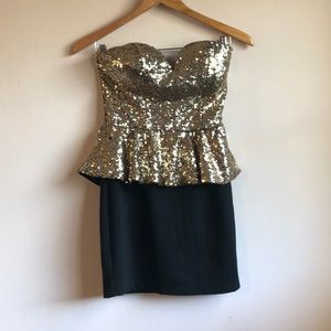 Black and gold 80's party mini dress